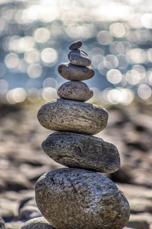 Small pile of stones balanced